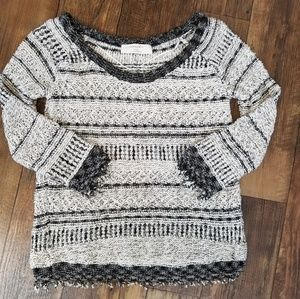 Zara Knit Sz L Black Gray Fringe Sweater Open Back